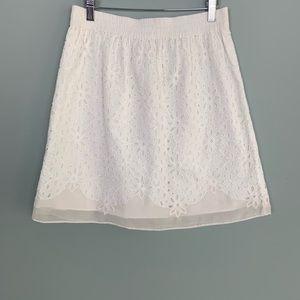 Sundance White Layered Floral Lace Silk Trim Skirt